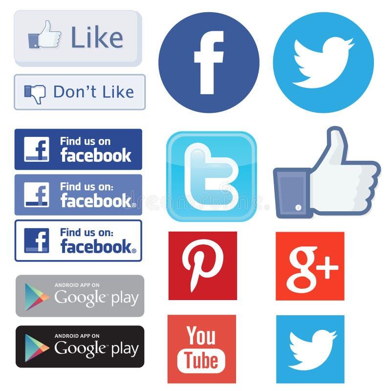 Fb, facebook, cinguettio, come il ritrovamento youtube ed il logos più pinterest illustrazione vettoriale