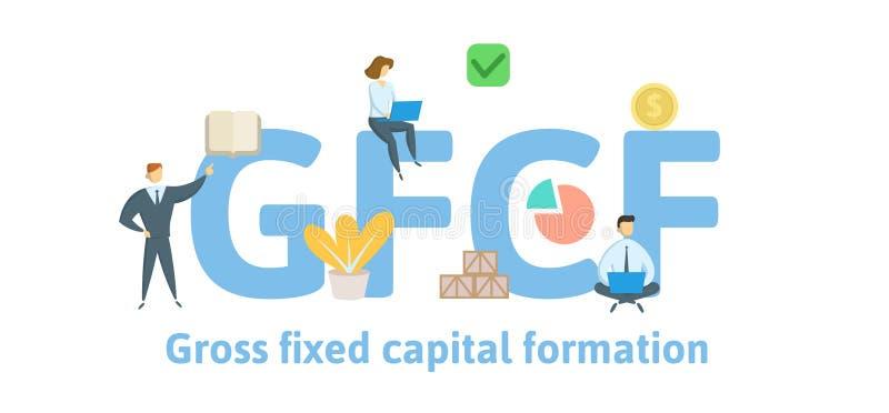 FBCF, formação de capital fixo de efetivação Conceito com palavras-chaves, letras e ícones Ilustração lisa do vetor isolado sobre ilustração do vetor