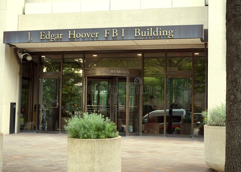 FBI building in Washington, DC. J. Edgar Hoover was the first director of the Federal Bureau of Investigation in the U.S. FBI headquarters is only a few blocks royalty free stock photography