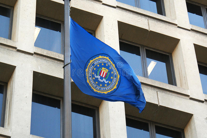 FBI flag on FBI Headquarters,J.Edgar Hoover Building stock images