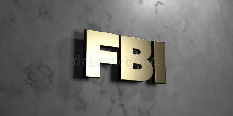 Fbi - Goldzeichen angebracht an der glatten Marmorwand - 3D übertrug freie Illustration der Abgabe auf Lager vektor abbildung