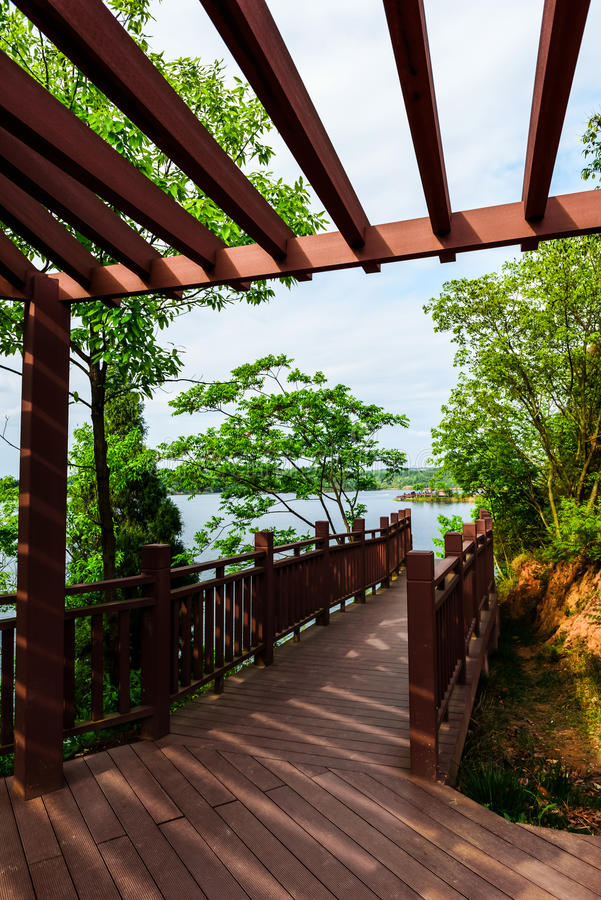 FBridge leading to the lake. Bridge leading to the lake. Photographed in Mianyang cents sea royalty free stock photography
