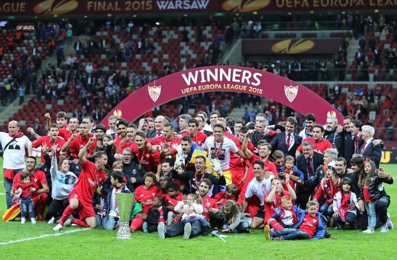 FC Севилья - победитель лиги 2015 Европы UEFA стоковое изображение rf