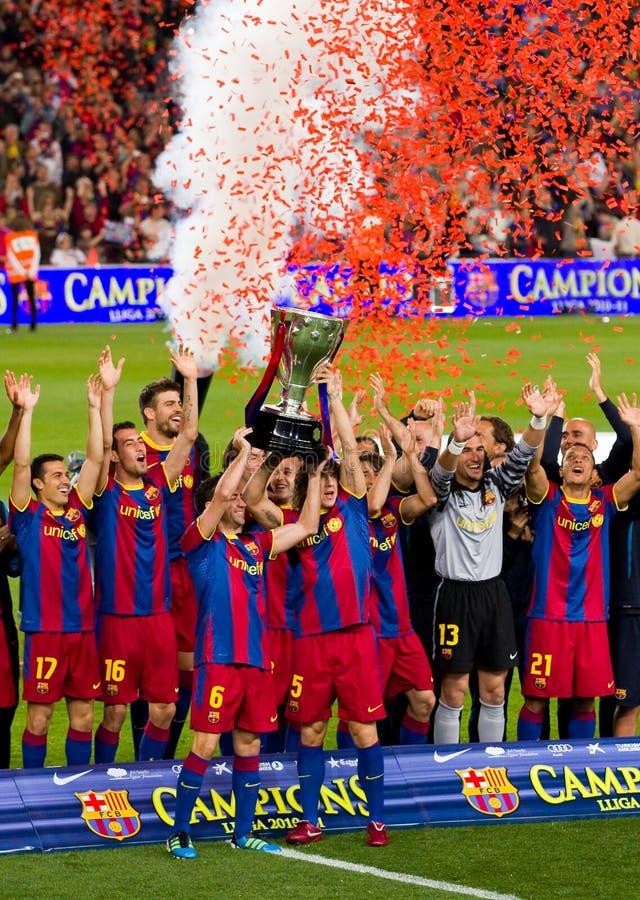 FC Barcelona: Campeones españoles de la liga imagen de archivo libre de regalías