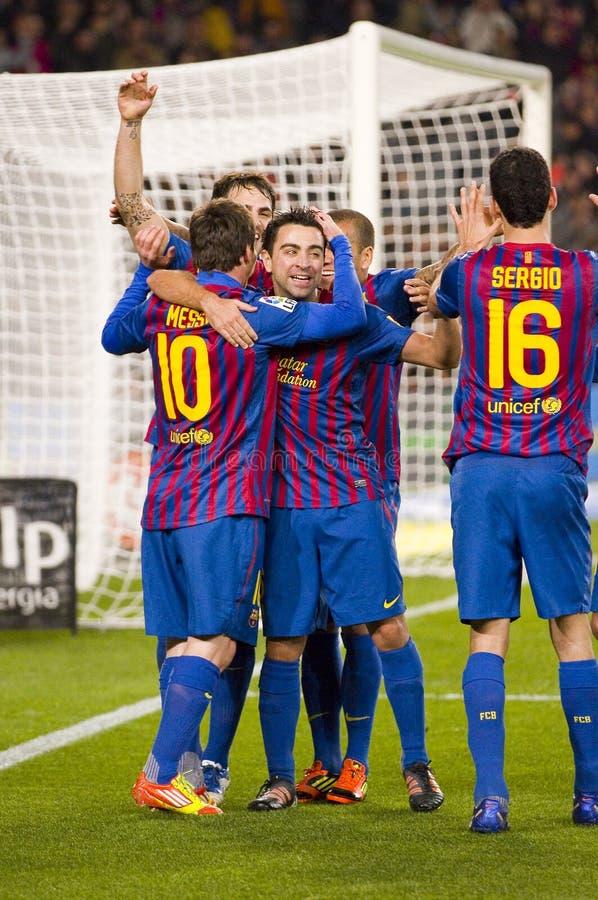 FC Barcelona de la celebración de la meta foto de archivo