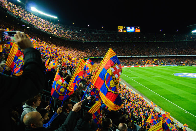 FC Barcelona football match - stands scenery with flags royalty free stock images