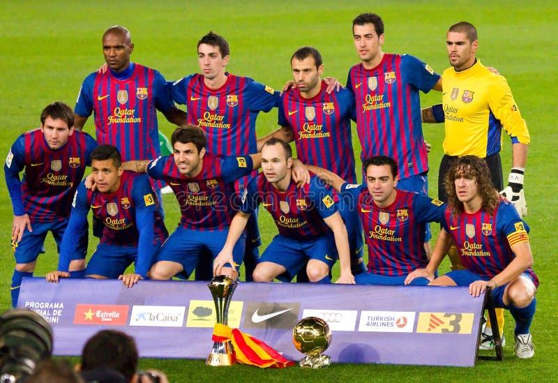 FC Barcelona met de Kop van de Wereld van de Club van FIFA royalty-vrije stock afbeelding