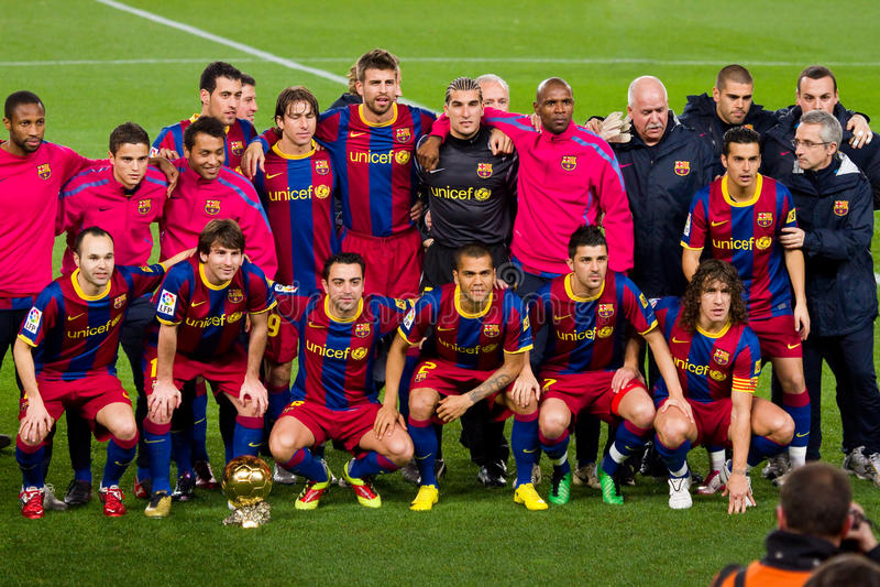 FC Barcelona met Gouden Bal stock afbeelding