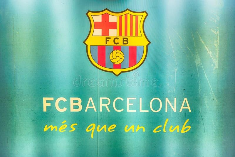 FC Barcelona ' s-motto i Camp Nou stadion, Barcelona, Catalonia, arkivbild