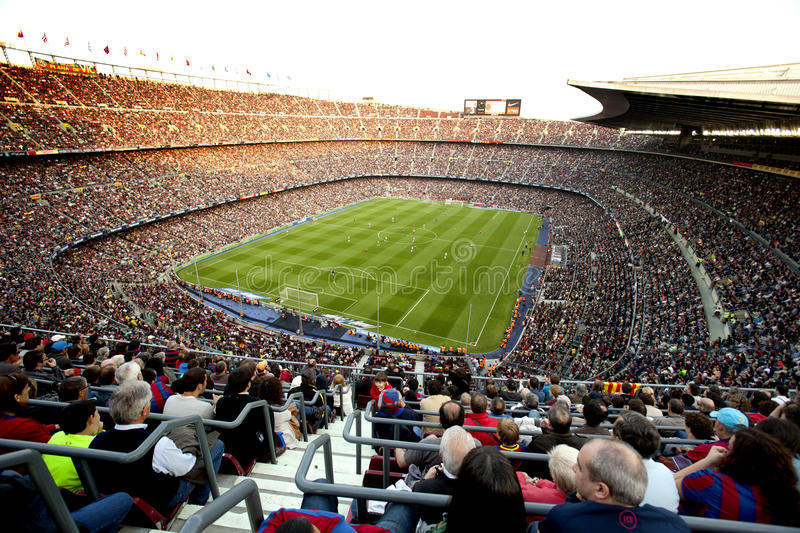 FC Barcelona stadium crowded. FC Barcelona stadium, Camp Nou, during the match between FC Barcelona and RCD Espanyol at the Nou Camp Stadium on May 8, 2011 in stock photo