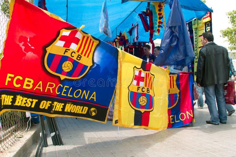 FC Barcelona stand next to the stadium stock photos