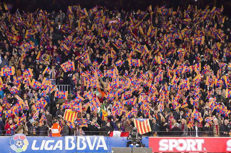 fc barcelona supporters editorial photography  image of crowd