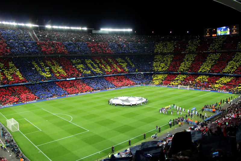 FC BARCELONA. Vs AC MILAN. Champions League match in Camp Nou Stadium, Barcelona