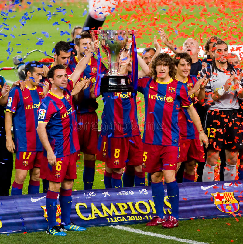 FC Barcelona wins the Spanish League Championship royalty free stock image