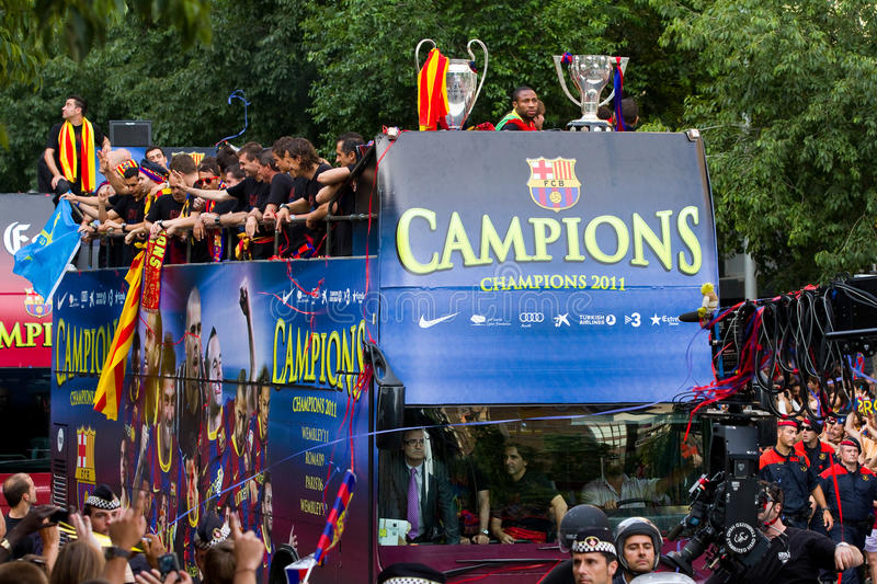 FC Barcelona wins the UEFA Champions League. BARCELONA - MAY 29: FC Barcelona players and supporters celebrate the European Champions League and Spanish League royalty free stock images