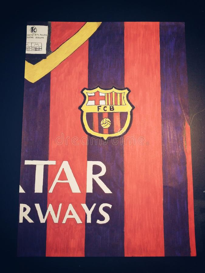 FC Barcelonaskjortateckning royaltyfri fotografi
