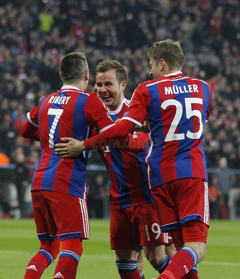 FC Bayern Muenchen v FC Shakhtar Donetsk - UEFA Champions League. MUNICH, GERMANY - MARCH 11 2015: Bayern Munich's midfielder Franck Ribery celebrates scoring a royalty free stock photography