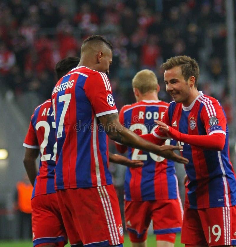 FC Bayern Muenchen v FC Shakhtar Donetsk - UEFA Champions League. MUNICH, GERMANY - MARCH 11 2015: Bayern Munich's midfielder Mario Götze celebrates scoring a stock photos