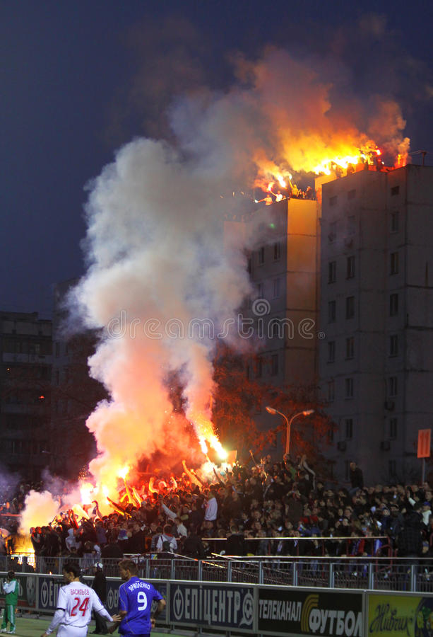 FC Dynamo Kyiv ultra supporters burn flares royalty free stock photos