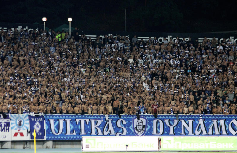 FC Dynamo Kyiv ultra supporters show their support stock images