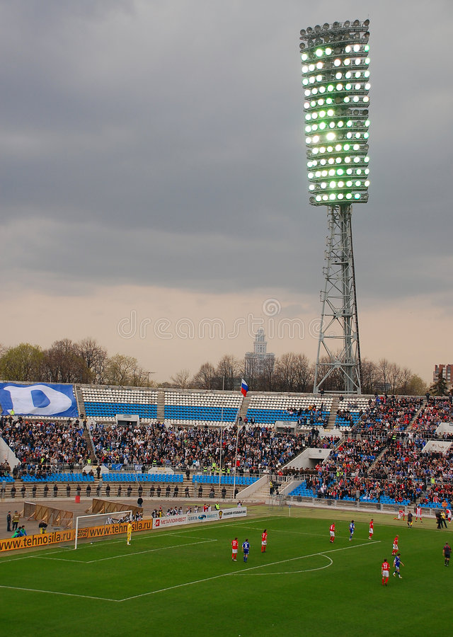 FC Dynamo/Moscow is playing vs FC Spartak/Moscow. FC Dynamo/Moscow is playing vs Spartak/Moscow at FC Dynamo stadium in Moscow. This stadium was built in 1928 royalty free stock photos