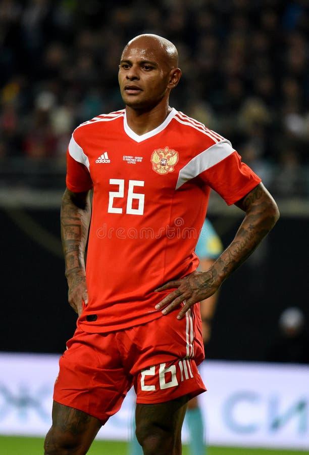 FC Krasnodar en de Russische nationale striker Ari van het voetbalteam stock foto's
