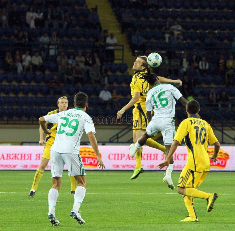 FC Metalist Kharkiv contre l'allumette à C.A. Omonia Nicosia image libre de droits