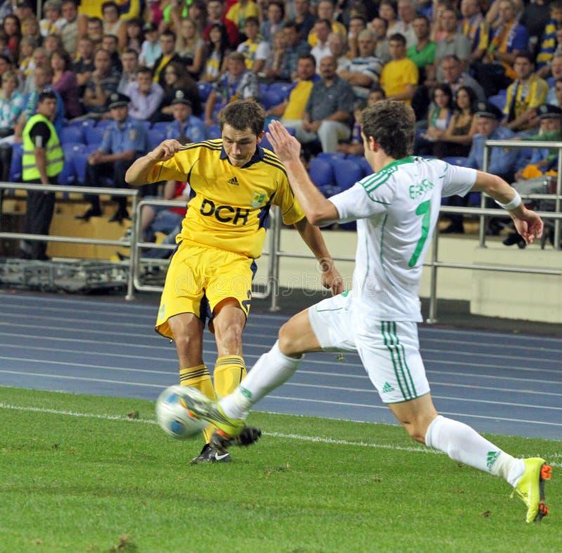 FC Metalist Kharkiv contre l'allumette à C.A. Omonia Nicosia photos libres de droits
