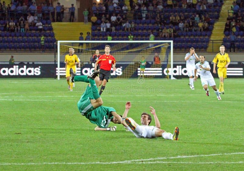 FC Metalist Kharkiv contre l'allumette à C.A. Omonia Nicosia photographie stock libre de droits