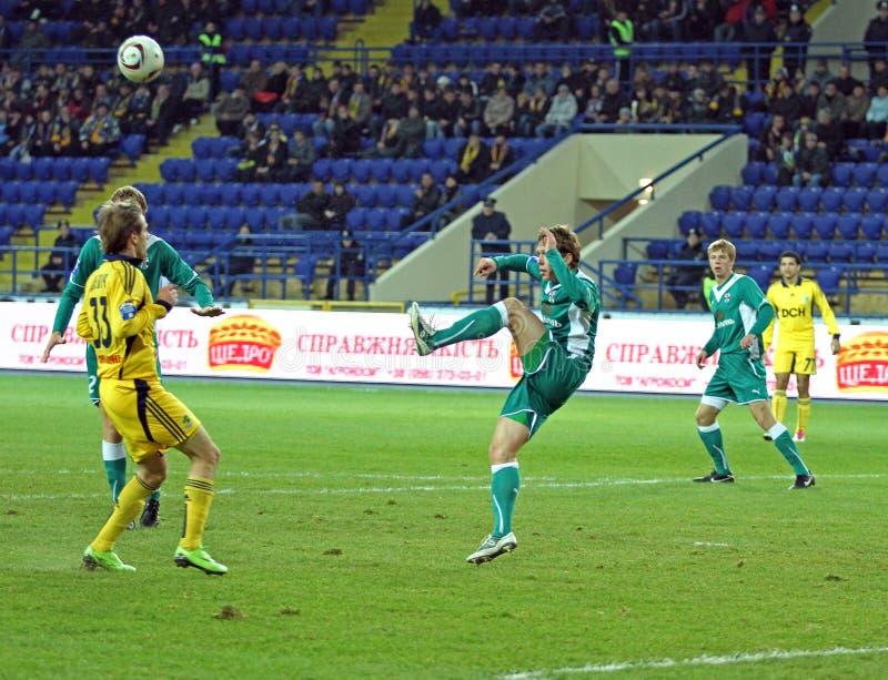 FC Metalist vs FC Obolon Kyiv football match stock photos