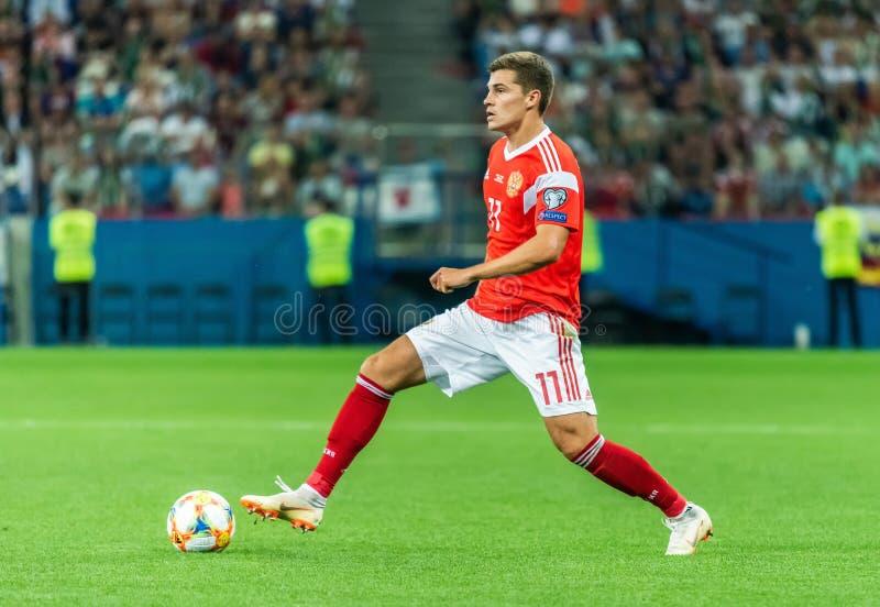 FC Spartak Moskou en Russisch nationaal team midfielder Roman Zobnin stock foto's