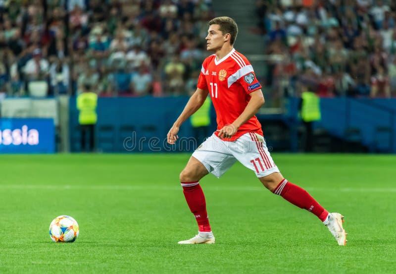 FC Spartak Moskou en Russisch nationaal team midfielder Roman Zobnin royalty-vrije stock fotografie
