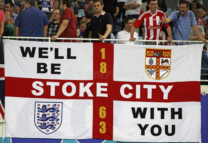 FC Stoke City supporters show their support stock photo