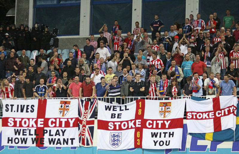FC Stoke City supporters show their support stock images