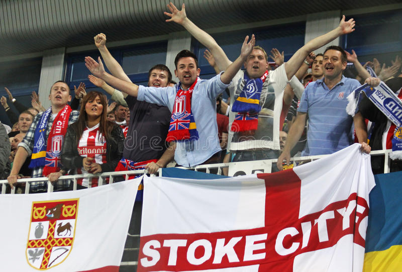 FC Stoke City supporters show their support royalty free stock images