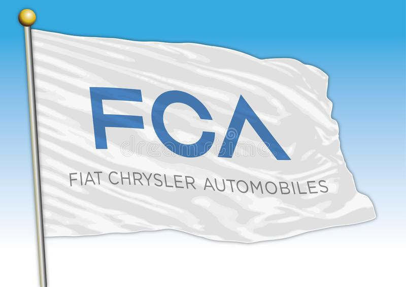 FCA Fiat Chrysler cars international group, flags with logo, illustration vector illustration