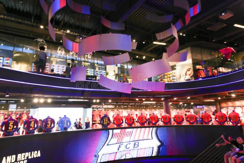 Fcb-sportgalleria - Barcelona, Spanien royaltyfri fotografi