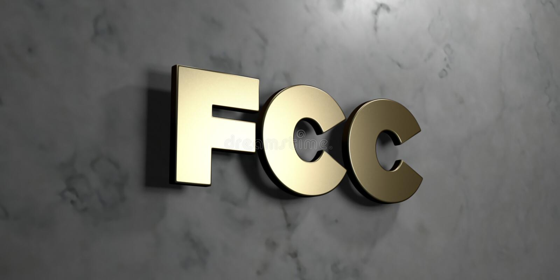 FCC - Goldzeichen angebracht an der glatten Marmorwand - 3D übertrug freie Illustration der Abgabe auf Lager lizenzfreie abbildung