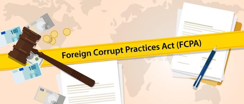 FCPA外国腐败行为行动法律章程法官罪行司法执行利益冲突协议 库存例证