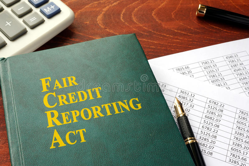 FCRA Fair Credit Reporting Act. FCRA Fair Credit Reporting Act on a table stock images
