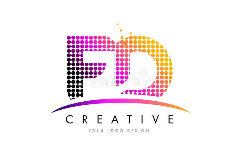 FD F D Letter Logo Design with Magenta Dots and Swoosh. FD F D Dots Letter Logo Design with Magenta Bubble Circles and Swoosh vector illustration