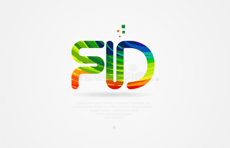 Fd f d rainbow colored alphabet letter logo combination. Fd f d alphabet letter logo icon combination design with rainbow color royalty free illustration