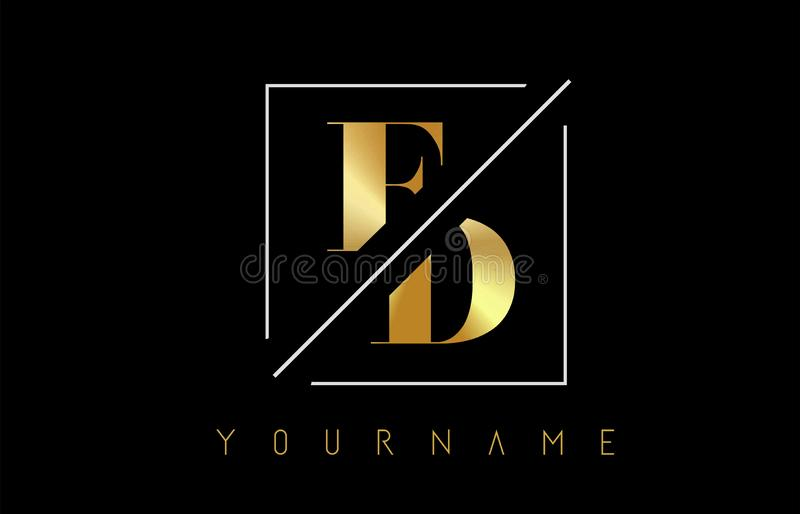 FD Golden Letter Logo with Cutted and Intersected Design. And Square Frame Vector Illustration royalty free illustration