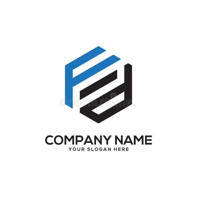 FD initial letter Logo Inspiration, F and D combination logo vector with hexagonal idea. Monogram logo, clean and clever, trend logo stock illustration