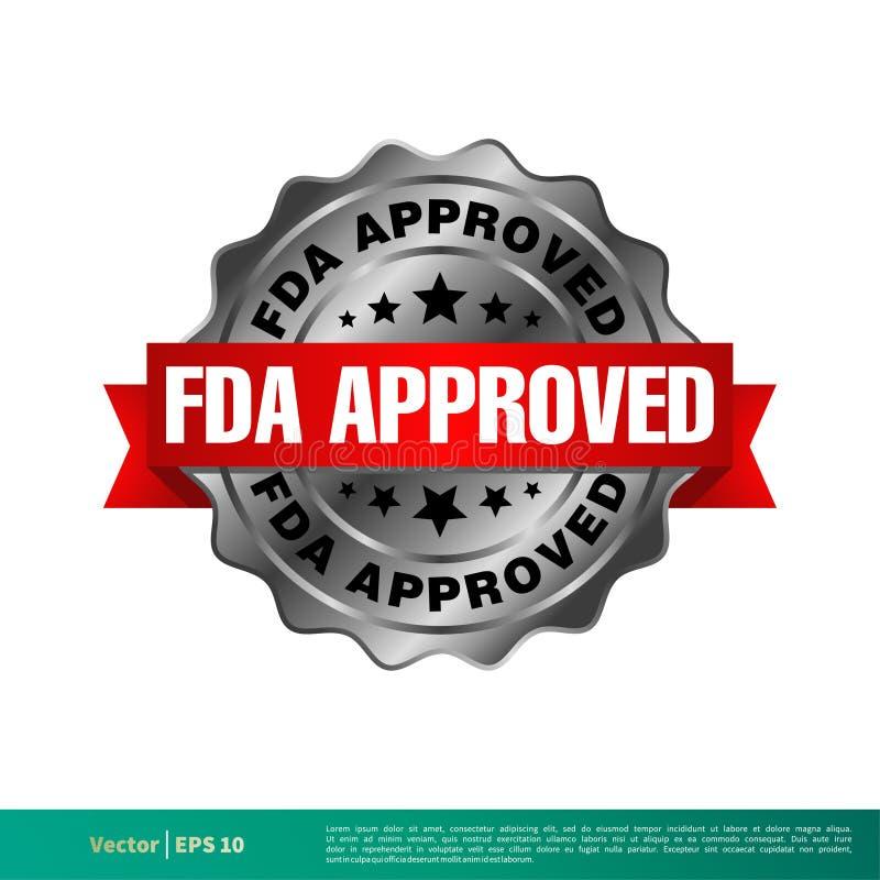 FDA批准的封印徽章传染媒介模板例证设计 o 库存例证