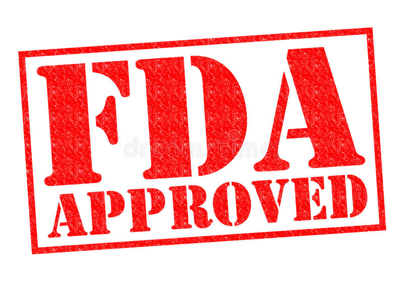 FDA APPROVED. Red Rubber Stamp over a white background royalty free stock image
