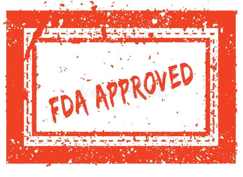 FDA APROVOU no carimbo de borracha quadrado alaranjado do quadro com textura do grunge ilustração do vetor