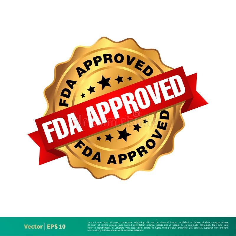 FDA Zatwierdzał foki odznaki Wektorowego szablonu Ilustracyjnego projekt Wektor EPS 10 ilustracja wektor