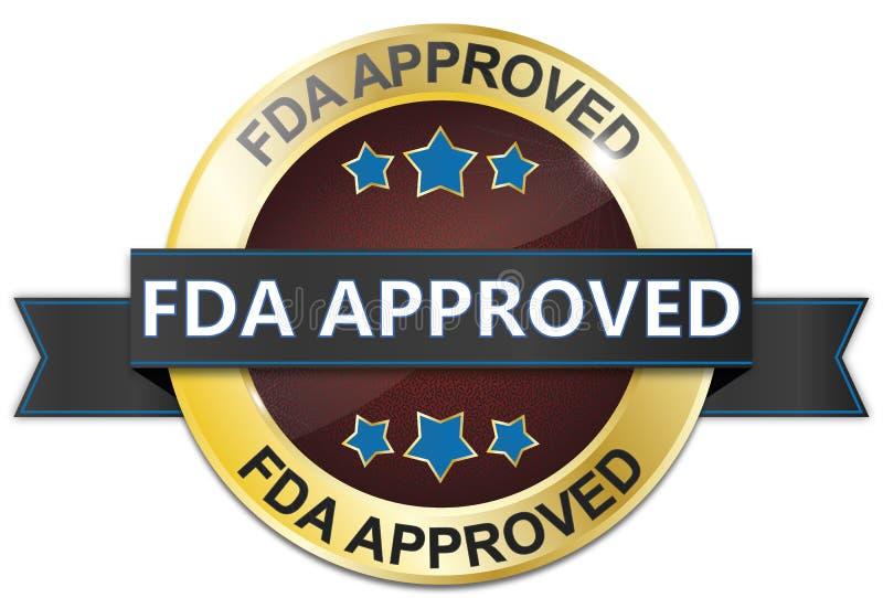 Fda zatwierdzał wokoło odosobnionej złota i czerwieni odznaki ilustracja wektor