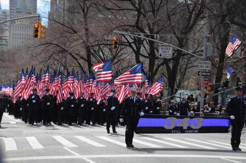 FDNY 343. The Fire Department of New York memorial for 343 firefighters who fell at the World Trade Center on 9/11 marching in the Saint Patrick`s Day Parade in royalty free stock images